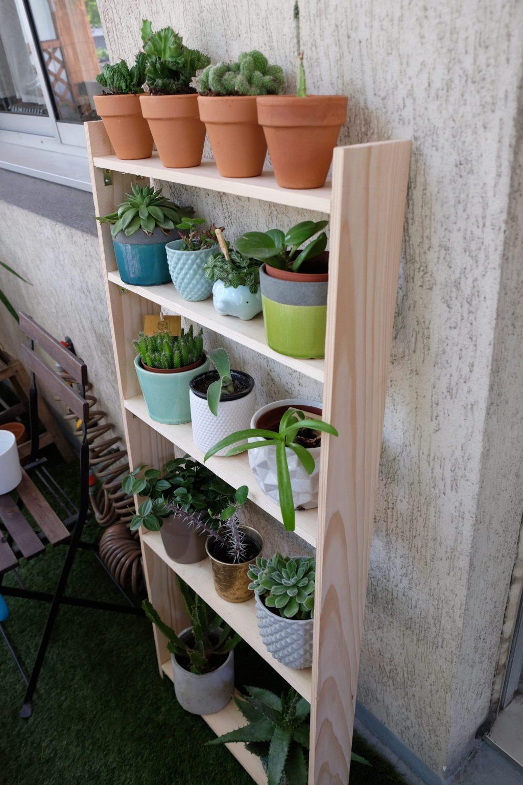 Etagère à plantes étroite custom DIY