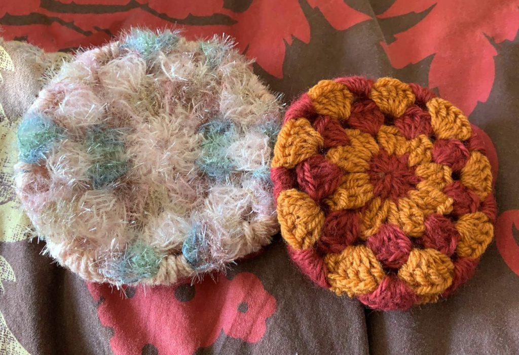 éponges écologiques tawashi crochetées rond