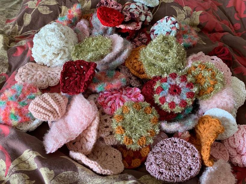 éponges écologiques tawashi crochetées